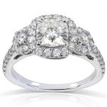 Cushion-cut Moissanite Engagement Ring with Diamond 1 7/8 CTW 14k Gold