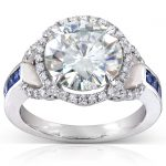 Round-cut Moissanite Engagement Ring with Sapphire & Diamond 3 4/5 CTW 14k White Gold