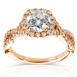 Round-cut Moissanite Engagement Ring with Diamond 1 1/2 CTW 14k White Gold