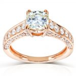 Forever One (D-F) Moissanite Engagement Ring with Diamond 1 5/8 CTW 14k Rose Gold