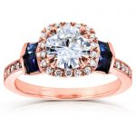 Round-cut Moissanite Diamond & Blue Sapphire Engagement Ring 1 3/5 Carat (ctw) in 14k Rose Gold