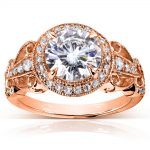 Art Deco Round Moissanite Engagement Ring with Diamond 1 7/8 CTW 14k Rose Gold