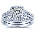 Cushion Moissanite and Diamond Halo Bridal Set 1 4/5 CTW in 14k White Gold