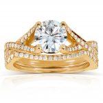 Round Moissanite Bridal Set with Diamond 1 2/5 CTW 14k Yellow Gold