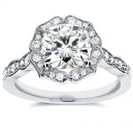 Antique Floral Cushion-cut Moissanite Engagement Ring with Diamond 2 CTW 14k White Gold