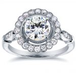 Antique Floral Diamond Engagement Ring 1 1/3 CTW in 14k White Gold