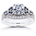 Round Diamond and Blue Sapphire Bridal Set 1 2/5 CTW in 14k White Gold