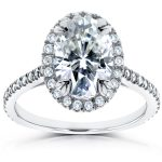 Oval Moissanite and Halo Diamond Engagement Ring 1 4/5 CTW in 14k White Gold
