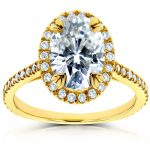 Oval Moissanite and Halo Diamond Engagement Ring 1 4/5 CTW in 14k Yellow Gold