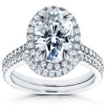Oval Moissanite and Diamond Halo Bridal Set 2 CTW in 14k White Gold