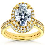 Oval Moissanite and Diamond Halo Bridal Set 2 CTW in 14k Yellow Gold