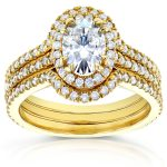 Oval Moissanite Bridal Set with Halo Diamond 1 1/2 CTW 14k Yellow Gold (3 Piece Set)