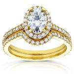 Oval Moissanite Bridal Set with Halo Diamond 1 3/8 CTW 14k Yellow Gold