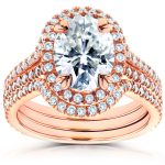 Oval Moissanite and Diamond Halo Bridal Set 2 4/5 CTW 14k Rose Gold (3 Piece Set)