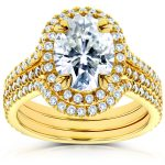 Oval Moissanite and Diamond Halo Bridal Set 2 4/5 CTW 14k Yellow Gold (3 Piece Set)