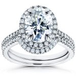 Oval Moissanite and Diamond Halo Bridal Set 2 3/5 CTW 14k White Gold