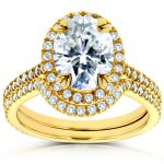Oval Moissanite and Diamond Halo Bridal Set 2 3/5 CTW 14k Yellow Gold
