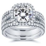Cushion Moissanite Bridal Set with Halo Diamond 3 CTW 14k White Gold (3-Piece Set)