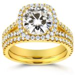 Forever One (D-F) Moissanite and Halo Diamond Bridal Set 2 3/4 CTW 14k Yellow Gold