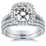 Cushion Moissanite Bridal Set with Halo Diamond 2 3/4 CTW 14k White Gold