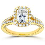 Radiant Moissanite Engagement Ring with Halo Diamond 1 4/5 CTW 14k Yellow Gold