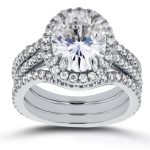 Oval Moissanite and Halo Diamond 3 Piece Bridal Set 3 4/5 CTW in 14k White Gold