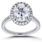 Oval Moissanite and Halo Diamond Engagement Ring 3 2/5 CTW in 14k White Gold