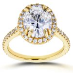 Oval Moissanite and Halo Diamond Engagement Ring 3 2/5 CTW in 14k Yellow Gold