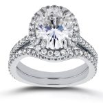 Oval Moissanite and Halo Diamond Bridal Set 3 3/5 CTW in 14k White Gold