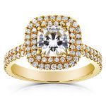 Cushion Moissanite and Diamond Double Halo Engagement Ring 1 4/5 CTW 14k Yellow Gold