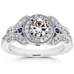 Antique Milgrain Diamond and Sapphire Engagement Ring 1 CTW in 14k White Gold