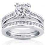 Forever One (D-F) Moissanite Bridal Set with Diamond Ring 2 1/10 CTW 14k White Gold