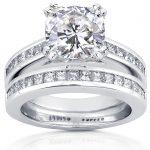 Cushion-cut Moissanite Bridal Set with Diamond Ring 3 CTW 14k White Gold