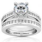 Round Moissanite Bridal Set with Diamond 2 1/2 CTW 14k White Gold