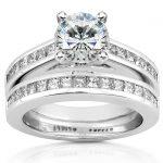 Round Moissanite Bridal Set with Diamond 2 CTW 14k White Gold