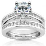 Round Moissanite Bridal Set with Diamond 3 CTW 14k White Gold