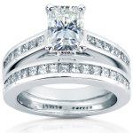 Radiant-cut Moissanite Bridal Set with Diamond Ring 2 4/5 CTW 14k White Gold