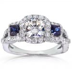 Forever One (D-F) Moissanite Sapphire Engagement Ring with Diamond 2 CTW 14k White Gold