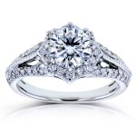 Antique Style Moissanite and Diamond Star Halo Ring 1 1/3 CTW 14k White Gold