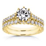 Forever One GHI Moissanite and Diamond 8-Prong Standing Halo Bridal Set 2 1/10 CTW in 14k Yellow Gold