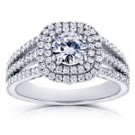 Forever One GHI Moissanite and Multi-Row Diamond Split Band Engagement Ring 2 Carats TGW 14k White Gold