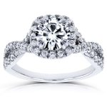 Forever One (D-F) Moissanite Engagement Ring and Diamond 1 1/2 CTW 14k White Gold