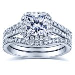 Forever One D-F Cushion Moissanite and Diamond Halo Bridal Set 1 4/5 CTW in 14k White Gold