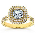 Forever One (D-F) Princess Moissanite and Diamond Double Halo Engagement Ring 1 5/8 CTW in 14k Yellow Gold