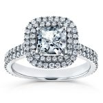 Forever One (D-F) Princess Moissanite and Diamond Double Halo Engagement Ring 1 5/8 CTW in 14k White Gold