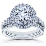 Forever One D-F Moissanite and Diamond Double Halo Split Shank Bridal Rings Set 2 2/5 CTW in 14k White Gold