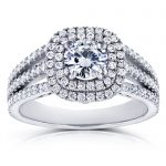 Forever One D-F Moissanite and Multi-Row Diamond Split Band Engagement Ring 2 Carats TGW 14k White Gold