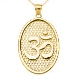 Om (Ohm) Oval Pendant Necklace in 9ct Gold