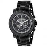 Oversized Luxurman Mens Black Diamond Watch 0.25ct
