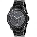 Mens Diamond Watches Oversized Black Watch Iced Out Luxurman w Chronograph